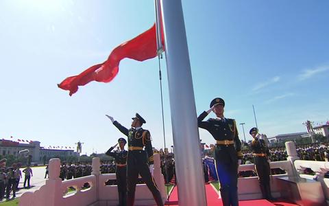 国庆节 升国旗 实图