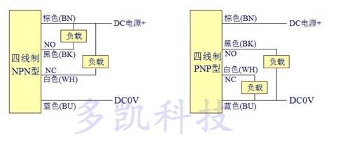 简述接近开关 传感器npn与pnp的接线区别